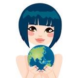Asiatisk jordkvinna stock illustrationer