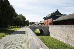 Asiatisk kines, Peking, forntida byggnad, Tiantan, fastaslott Fotografering för Bildbyråer