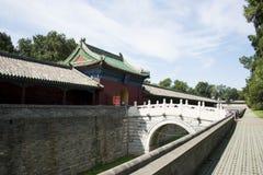 Asiatisk kines, Peking, forntida byggnad, Tiantan, fastaslott Arkivfoto