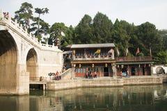 Asiatisk kines, Peking, historisk byggnad, sommarslotten, Suzhou gata Arkivfoto