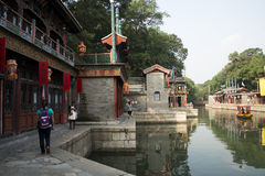 Asiatisk kines, Peking, historisk byggnad, sommarslotten, Suzhou gata Arkivbild