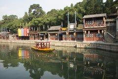 Asiatisk kines, Peking, historisk byggnad, sommarslotten, Suzhou gata Arkivbilder