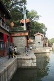 Asiatisk kines, Peking, historisk byggnad, sommarslotten, Suzhou gata Royaltyfri Fotografi