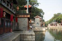 Asiatisk kines, Peking, historisk byggnad, sommarslotten, Suzhou gata Royaltyfria Foton