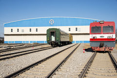 Asiatisk kines, Peking, järnväg museum, läge Arkivfoton