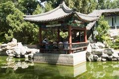 Asiatisk kines, Peking, Longtan sjön parkerar, antika byggnader Royaltyfri Fotografi