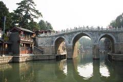 Asiatisk kines, Peking, sommarslotten, den långa bron för tre hål Arkivbilder