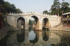 Asiatisk kines, Peking, sommarslotten, thren Royaltyfria Foton