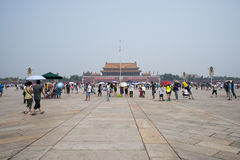 Asiatisk kines, Peking, Tiananmen fyrkant Arkivbild
