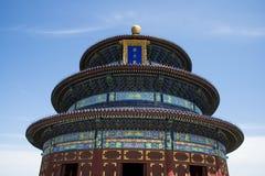 Asiatisk kines, Peking, Tiantan parkerar, historisk buildingsï¼ Œthe Hall av bönen för bra skörd, Arkivbild