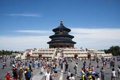 Asiatisk kines, Peking, Tiantan parkerar, historisk buildingsï¼ Œthe Hall av bönen för bra skörd, Royaltyfri Foto