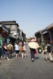 Asiatisk kines, Peking, Yandaixiejie, en kommersiell gata i det gammalt Arkivbilder