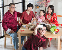 Asiatisk kinesisk familjselfie Arkivfoto