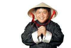 asiatisk kinesisk hälsningshatt fotografering för bildbyråer