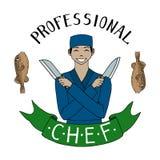 Asiatisk kock med knivar yrke le likformig för kock orientalisk kokkonst Hand tecknad vektorillustration stock illustrationer
