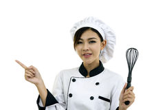 Asiatisk kockkock för ung kvinna på vit arkivfoton