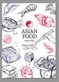 Asiatisk kokkonst skissar affischen vektor illustrationer