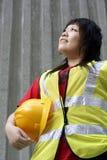 asiatisk konstruktionskvinnligarbetare Arkivbild