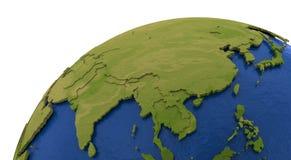 Asiatisk kontinent på jord stock illustrationer