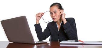 Asiatisk kontorsarbetare med uttryck VI Fotografering för Bildbyråer