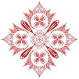 Asiatisk kultur inspirerade garnering Shape för tatueringen för bröllopmakeuphenna med ovala diagonala beståndsdelar i vit, röd b Arkivbild