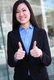 asiatisk kvinna för affärsframgång Arkivbilder