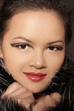 asiatisk kvinna för skönhetståendevinter Arkivfoton