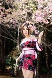 Asiatisk kvinna med den japanska kimonot Arkivfoton