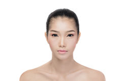 Asiatisk kvinna med skönhetframsidan Arkivbilder