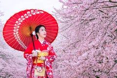 Asiatisk kvinna som bär den japanska traditionella kimonot och den körsbärsröda blomningen i våren, Japan Royaltyfri Bild