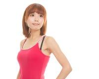 Asiatisk kvinna som bär den röda klänningen Royaltyfria Foton