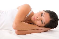 Asiatisk kvinna sovande Arkivfoton