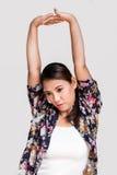 Asiatisk kvinnaelasticitet Arkivfoto