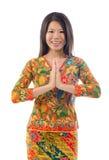 Asiatisk kvinnlig hälsning för Southeast Fotografering för Bildbyråer