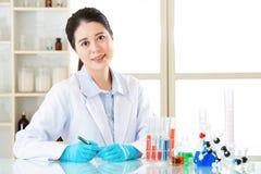 Asiatisk kvinnlig säker forskarekänsel att upptäcka den nya läkarundersökningen fr Arkivbilder