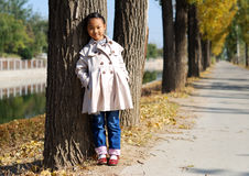 Asiatisk liten flicka i höst Arkivfoto