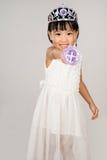 Asiatisk liten kinesisk flicka i prinsessan Costume Fotografering för Bildbyråer
