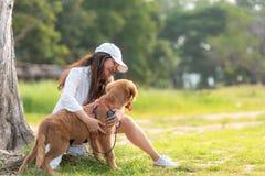 Asiatisk livsstilkvinna som spelar med golden retrieverkamratskaphunden arkivfoto