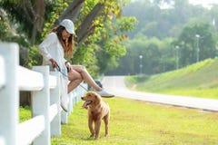 Asiatisk livsstilkvinna som spelar med golden retrieverkamratskaphunden i soluppgång fotografering för bildbyråer