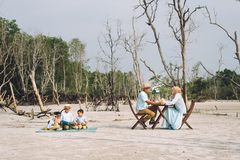 Asiatisk lycklig familj som har en picknick royaltyfria foton