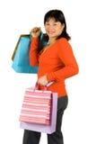 asiatisk lycklig shoppare royaltyfri bild