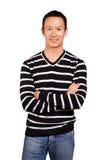 Asiatisk man i randig Pullover Royaltyfri Bild