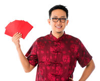 Asiatisk manlig för Southeast i cheongsam Arkivbild
