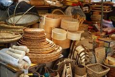 Asiatisk marknad av bambuhantverk Royaltyfria Bilder