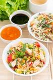 Asiatisk mat - stekt ris med tofuen, nudlar med grönsaker royaltyfria bilder