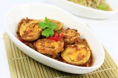 Asiatisk maträtt för äggcurry Arkivbild