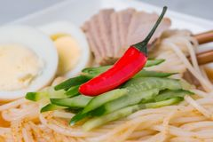 asiatisk maträtt Nudlar med varm peppar arkivfoto