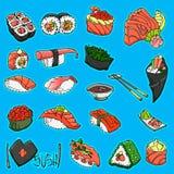 Asiatisk matsamling Sushi exponeringsb?rbar datorlampa skissar stil Tecknad illustration f?r vektor hand Isolerade objekt f?r des vektor illustrationer