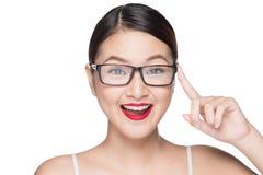 Asiatisk modellflicka för skönhet med bärande exponeringsglas för perfekt hud, isola Arkivbild