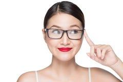 Asiatisk modellflicka för skönhet med bärande exponeringsglas för perfekt hud, isola Royaltyfri Foto